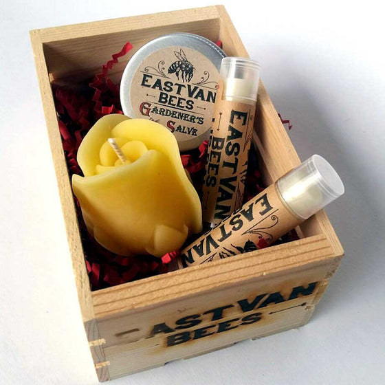 Gift Box with 100% Beeswax Rosebud Flower Candle, 2 x Lip Balms, Gardeners Moisturizing Salve