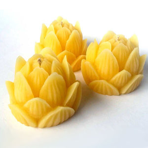 LOTUS FLOWER - 100% Beeswax Candle - 3 pack