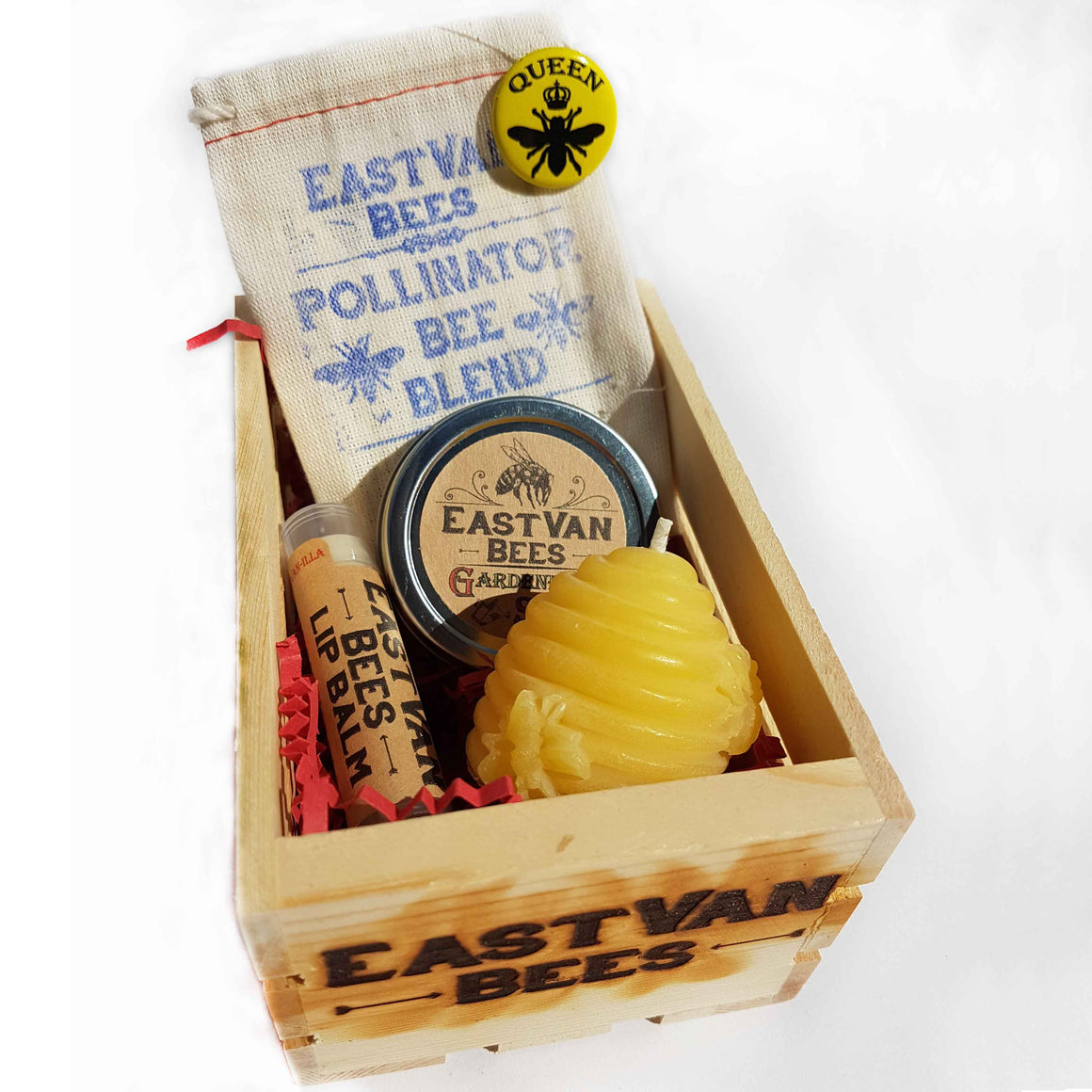 Gardeners gift basket with 100% Beeswax Skep beehive Candle, Pollinator Seed pack, Lip Balms, Gardeners Moisturizing Salve