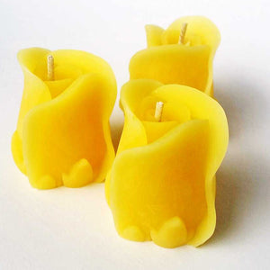 ROSE BUD - 100% Beeswax Candle - 3 pack
