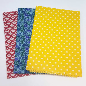 "Beeswax Food Wraps -3 pack -medium 11""  - Starter kit - Zero waste- Food Safe - Reusable"
