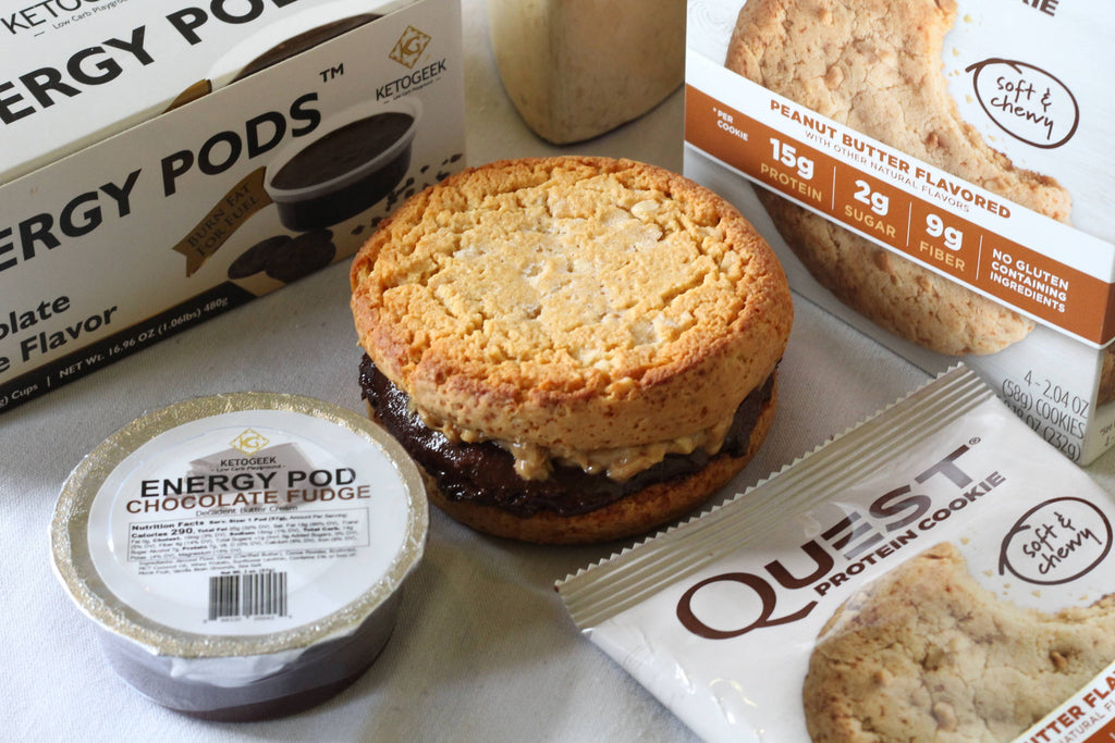 The Ultimate Keto Friendly Chocolate Peanut Butter Cookie Sandwich || Energy Pod Recipe