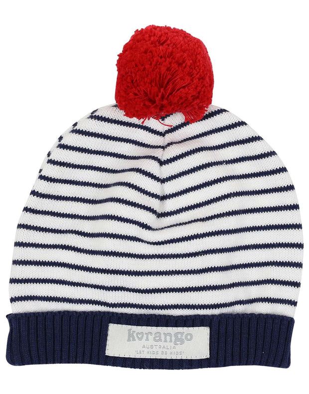 Korango Baby Boys Little Boater Sailor Beanie Blue Winter 100% Cotton