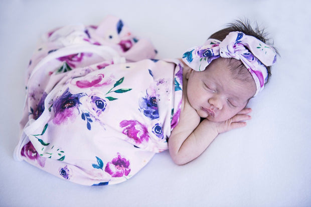 Snuggle Hunny Kids - Floral Kiss - Baby Jersey Wrap & Topknot Set