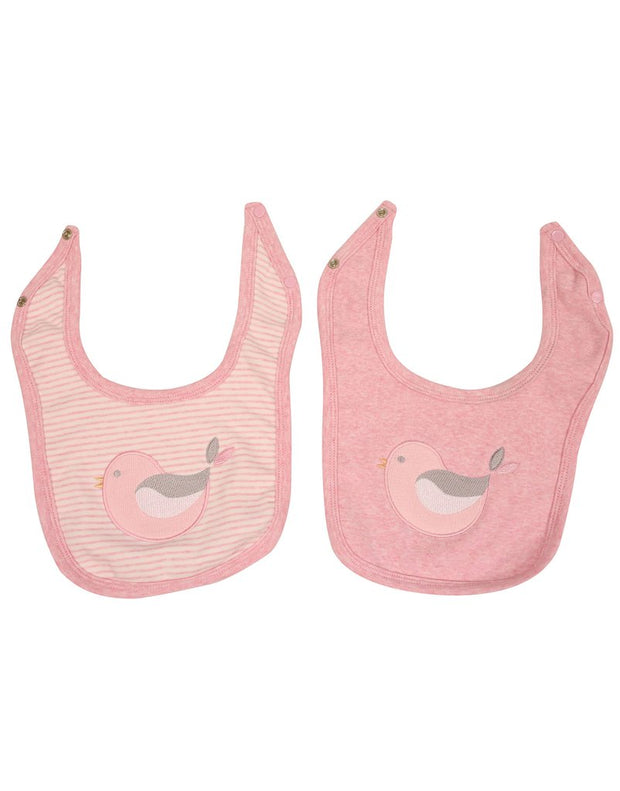 Korango Girls Pink Baby Bird Bib  Set - 2 Pack