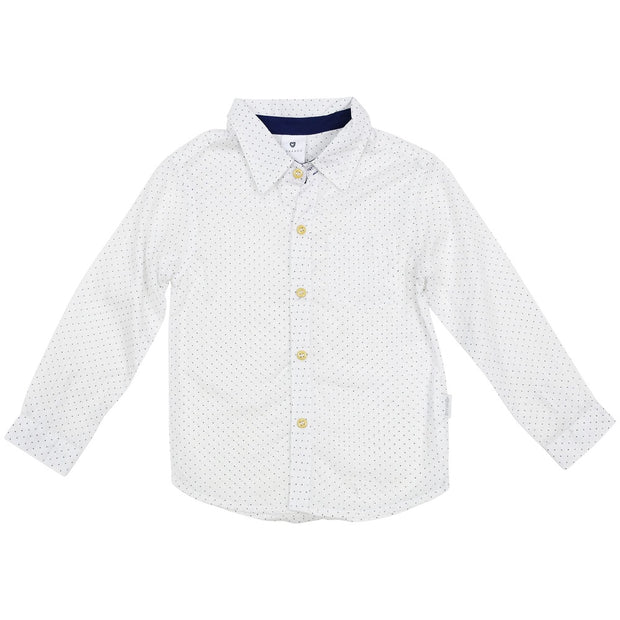 Korango Boys Classic White Shirt with Polka Dots