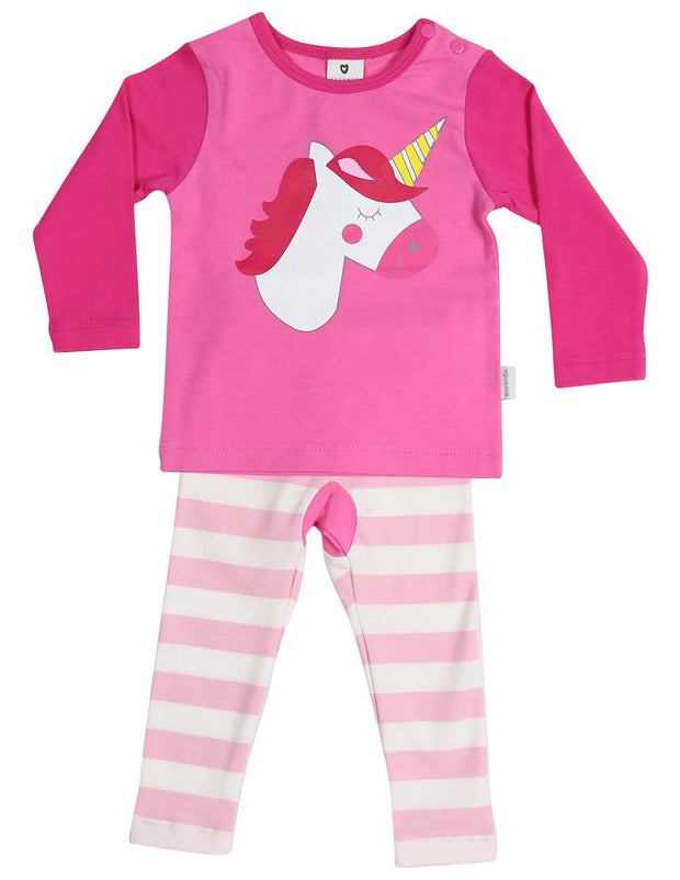Korango Girls Long Sleeve Pink Unicorn Winter Pyjamas
