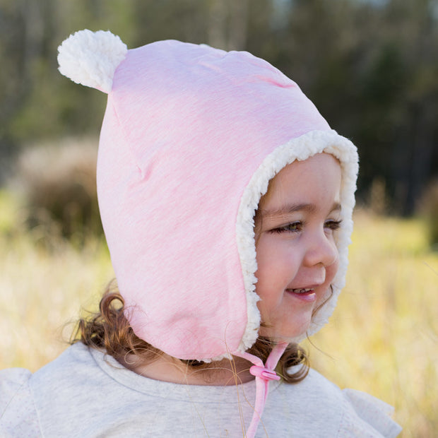 Bedhead Fleecy Baby Beanie - Baby Pink Marle