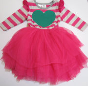 Hootkid Hot Pink/Grey Stripe 'Love You Lots' Tutu Dress