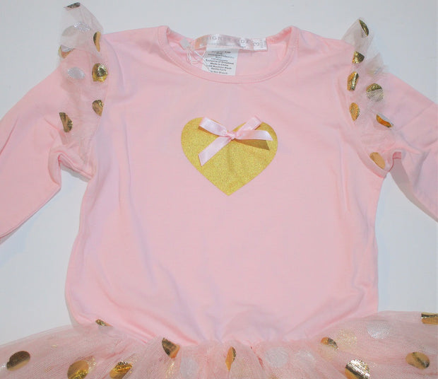 Designer Kidz Girls Pink & Gold Heart Tutu Dress