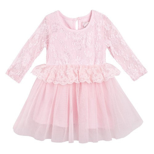 Designer Kidz Larissa Lace Dress  Pink