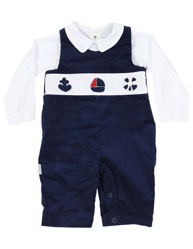 Korango Baby Boys Blue Little Boater Cord Sailor Overall Outfit