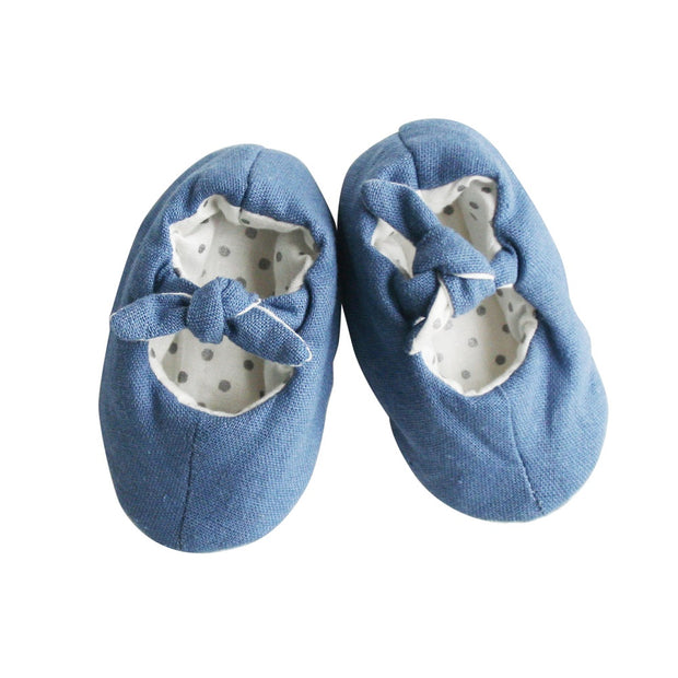 Alimrose Bobby Baby Slippers Chambray Linen