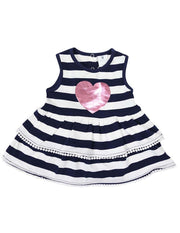 Korango Girls Heart Dress Navy