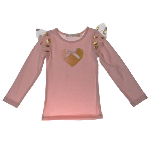 Designer Kidz Girls Pink Gold Heart Long Sleeved Tshirt Top