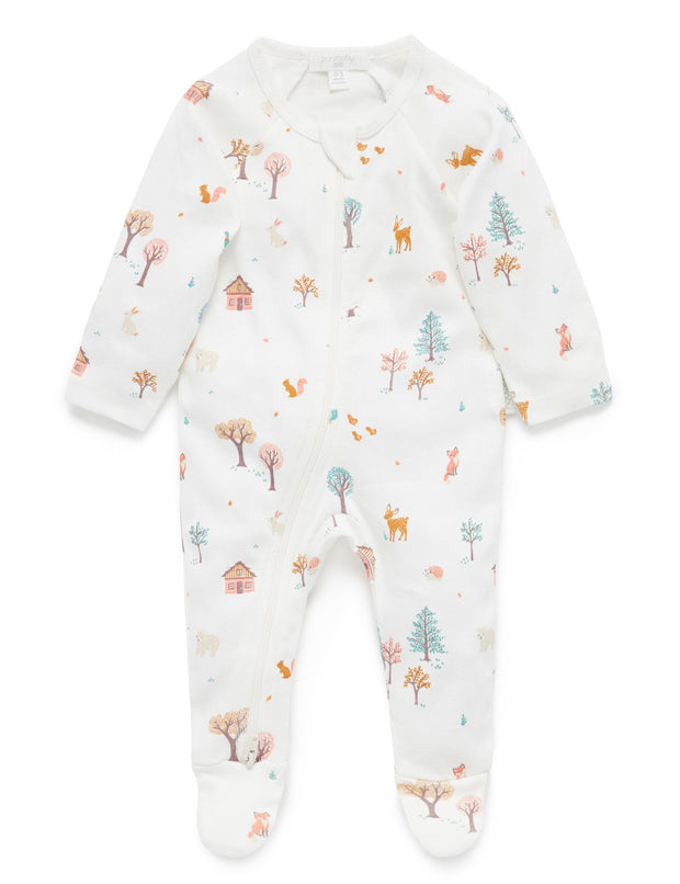 Purebaby Girls Woodland Print Zip Growsuit