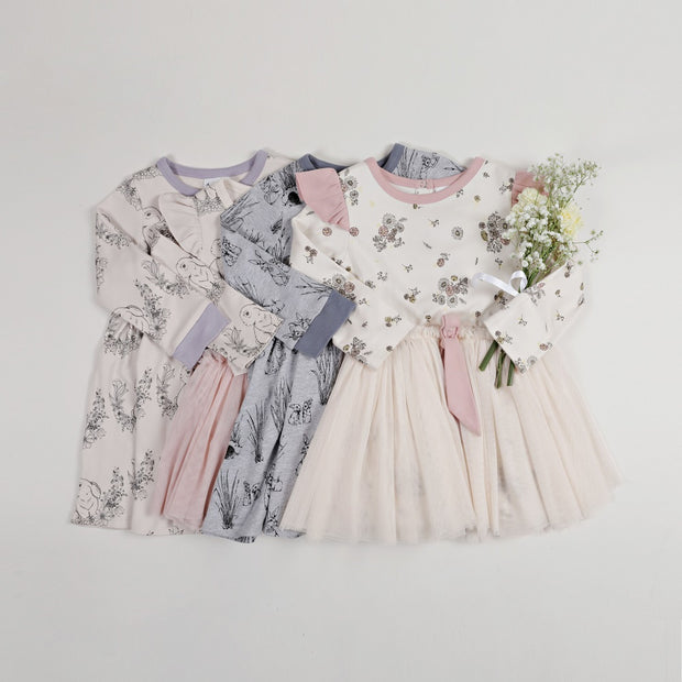 Aster & Oak Vintage Floral Tutu Bow Dress