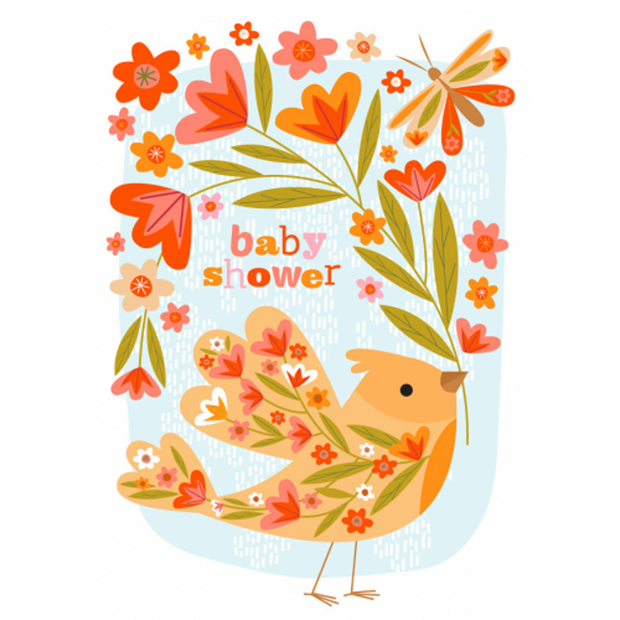 Little Red Owl Baby Shower Bird Greeting Card