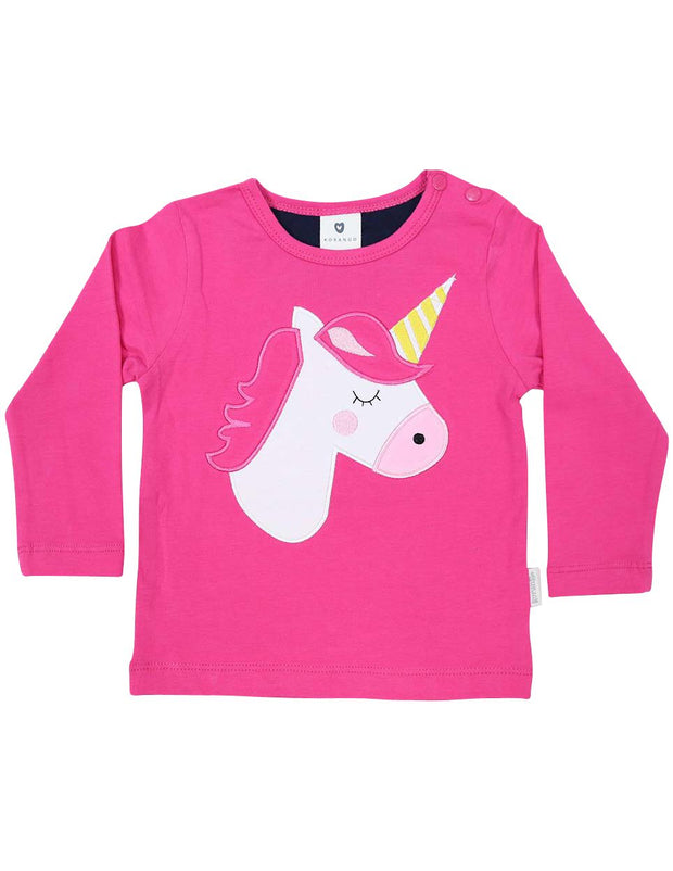 Korango Girls Standing out from the Crowd Pink Long Sleeve Tshirt Unicorn Applique