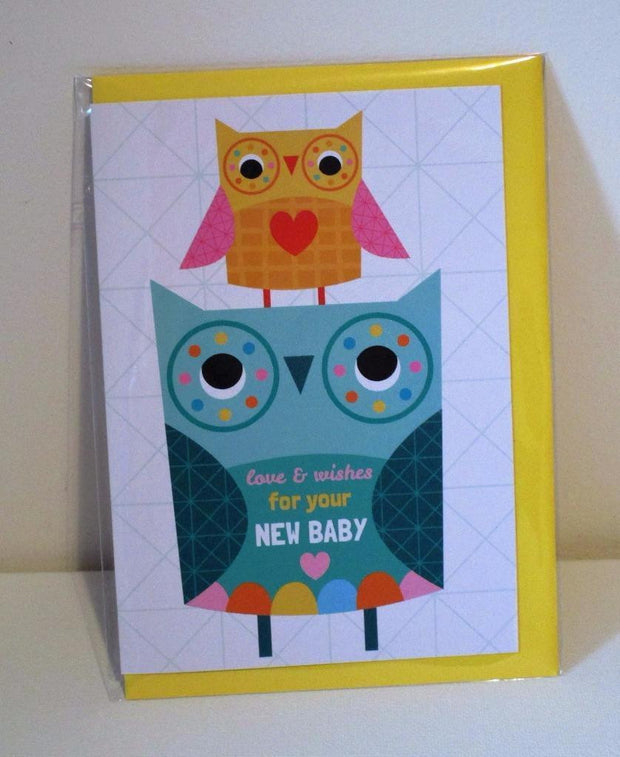 Little Red Owl Love & Wishes For Your New Baby Printed Greeting Card