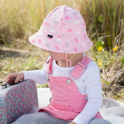 Bedhead Hats Toddler Bucket Hat with Strap Pink - Clouds UPF 50+