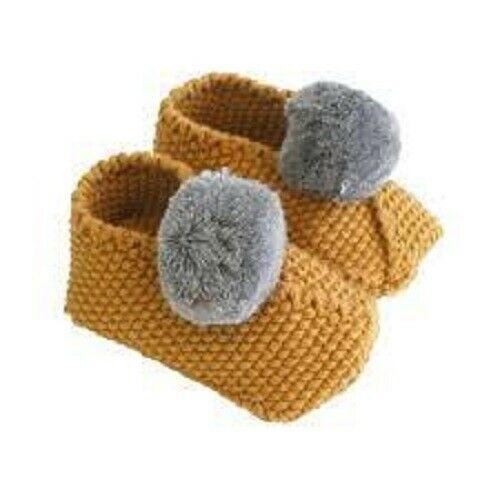 Alimrose Baby Pom Pom Slippers -Butterscotch & Grey Booties
