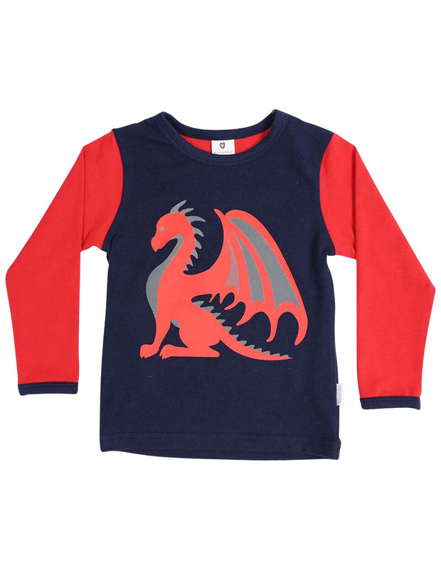 Korango Boys Dragon Long Sleeve Print Tee Red/Navy