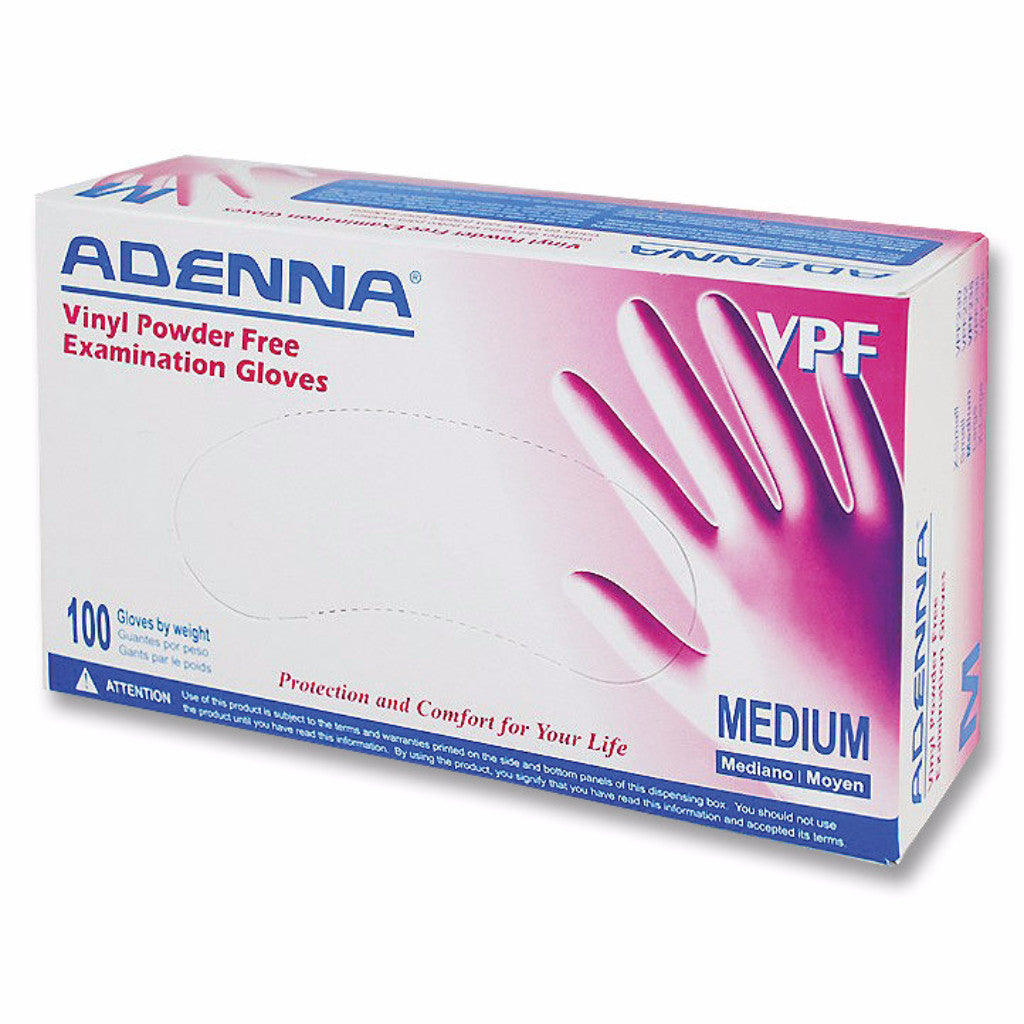 Adenna Clear PF Vinyl Gloves, Smooth