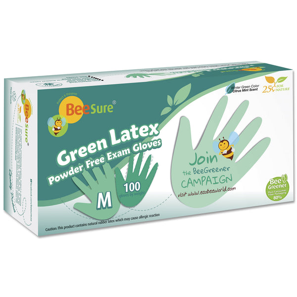 BeeSure Green Mint Latex Gloves PF