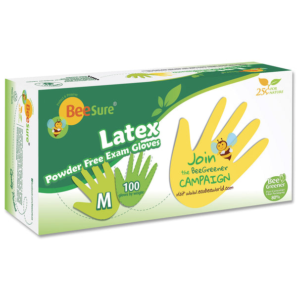 BeeSure Natural Latex Gloves PF