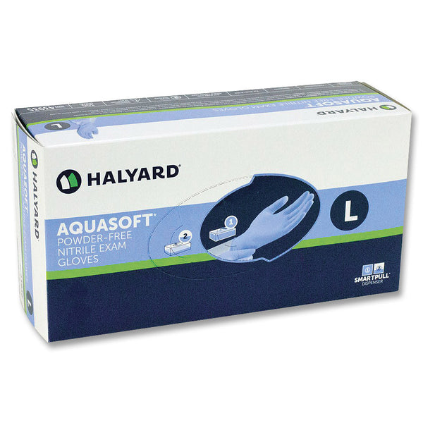 Halyard AquaSoft Blue Nitrile Gloves PF