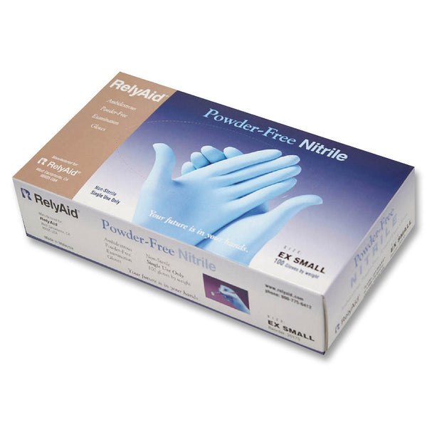 RelyAid Blue Nitrile Textured Gloves PF