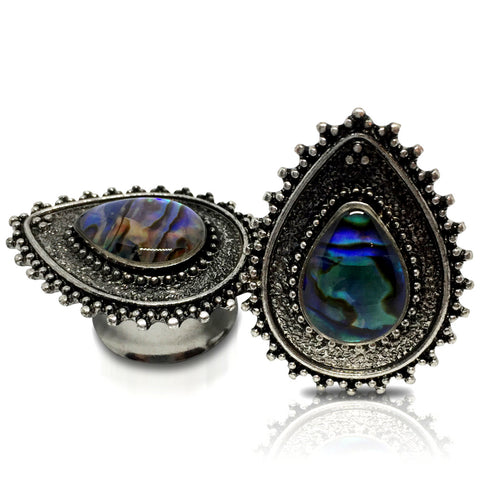 Antique Steel Teardrop With Abelone Plugs