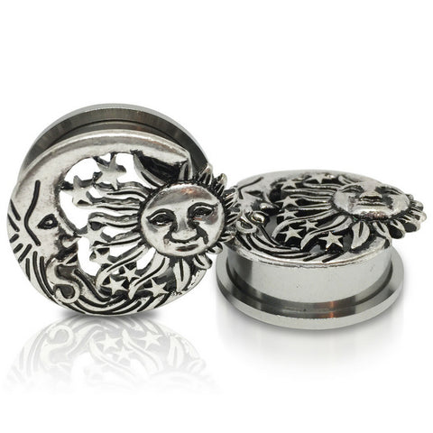 Antique Silver Plated The Sun And The Moon Tunnels
