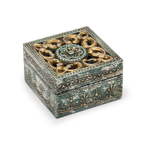 Antique Henna Cut Wood and Metal Plug Box