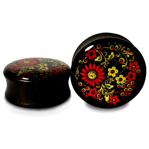 Ebony Wood With Antique Floral Pattern Inlay Plugs