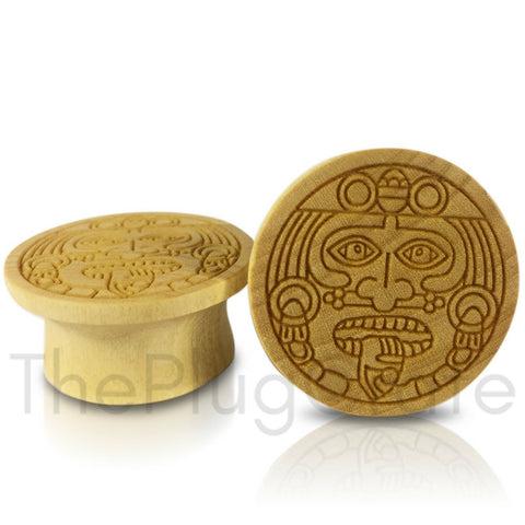 Mayan Flare Engraved Aztec Face on Crocodile Wood Plugs
