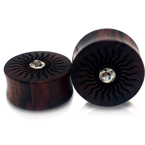 Engraved Center of the Sun Sono Wood Plugs