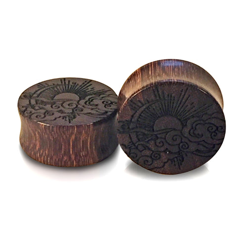 Engraved Japanese Sun and Moon Dark Tamarind Wood Plugs