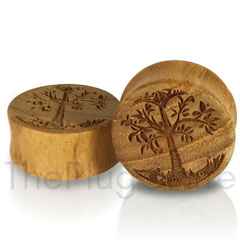 Engraved Yggdrasil Viking Tree of Life on Teak Wood Plugs