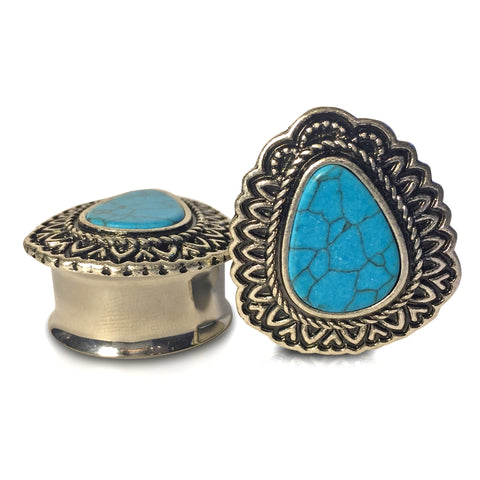 Premium Steel Faux Teardrop With Turquoise Plugs