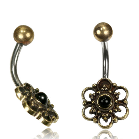 Flower with Onyx Stone Belly Ring
