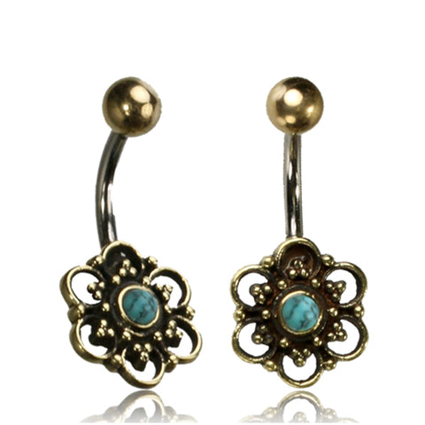 Flower With Turquoise Stone Belly Ring
