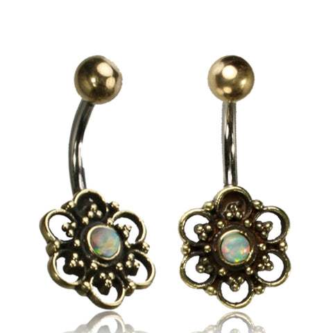 Flower with White Opal Belly Ring