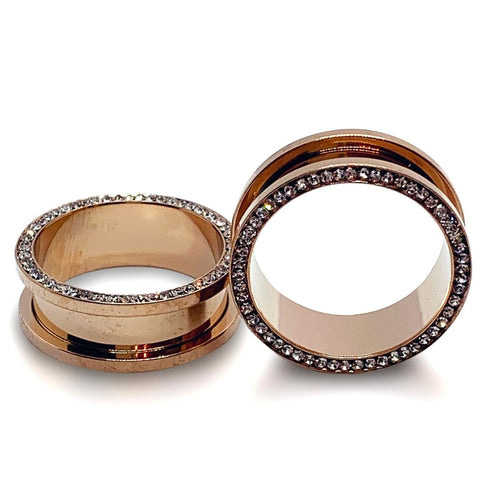 Gem Lined Rose Gold Steel Tunnels