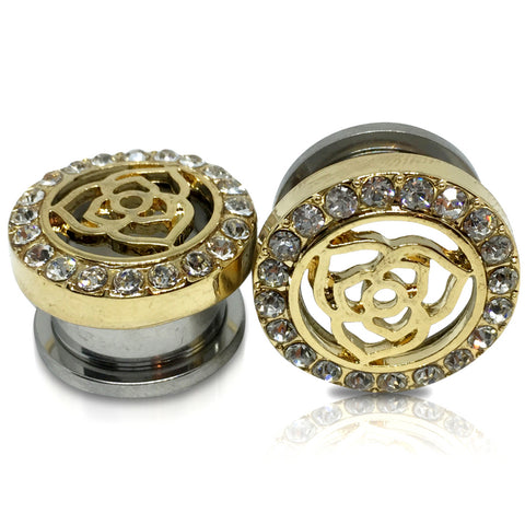 14KT. Gold Plated Gem Lined Rose Tunnels