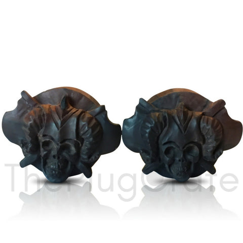 Bali Hand Carved Viking Skull on Areng Wood Plugs