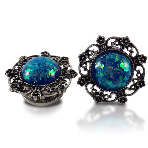 Antique Blue Opal Steel Plugs