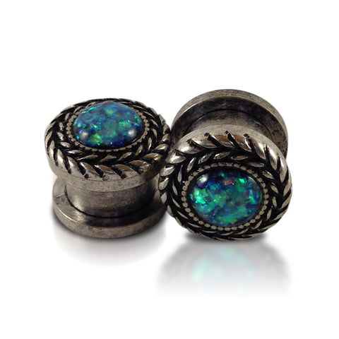 Burnished Steel Vine Blue Opal Plugs