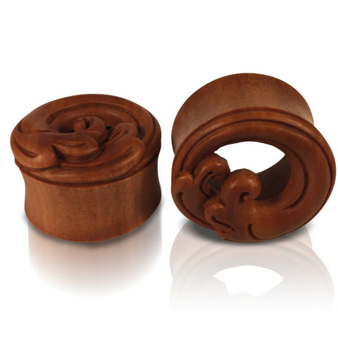 Japanese Nami Wave Tunnels Hand Carved on Sawo Wood